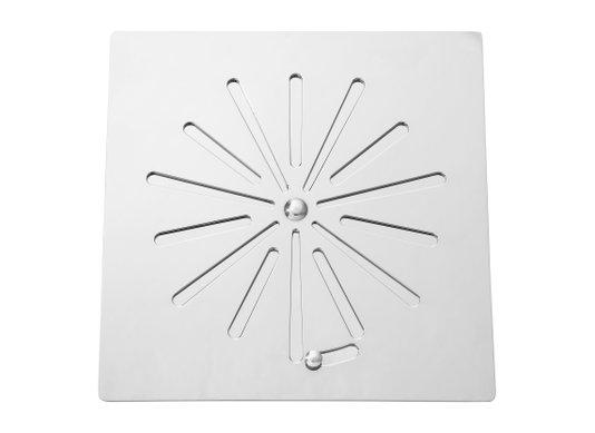 Grelha/Ralo 9,4X9,4 sem caixilho aço inox cromado sistema abre/fecha Invinox