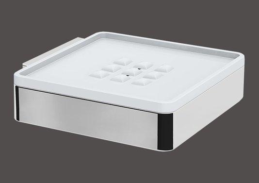saboneteira de parede fixa acrilico branco com cromado BA 143/203 Spirit Zen Design