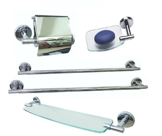 Kit com 5 Peças (Papeleira, Porta Shampoo, Saboneteira, Barra de 45cm e Barra de 60cm) Dry Line