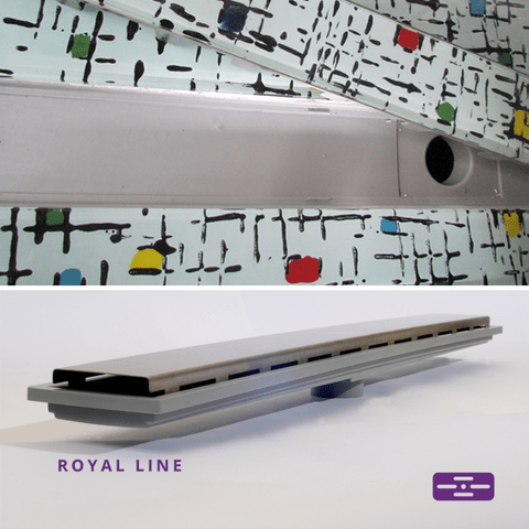 Ralo Linear Royal 15185 - 100cm com tampa Inox e base polipropileno, saida central