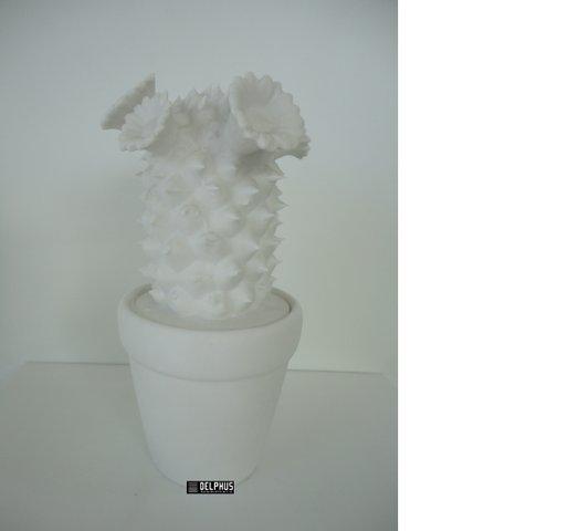 Vaso cactus em cerâmica branca decorativo MARCOVICI