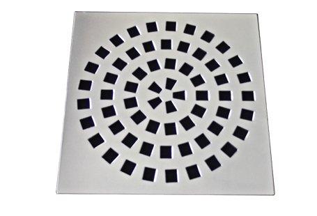 Grelha/Ralo 9,4X9,4 sem caixilho aço inox cromado formato quadrado circular Invinox