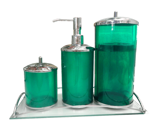 Kit 3 Peças Verde Translucido / Tampa Cromada