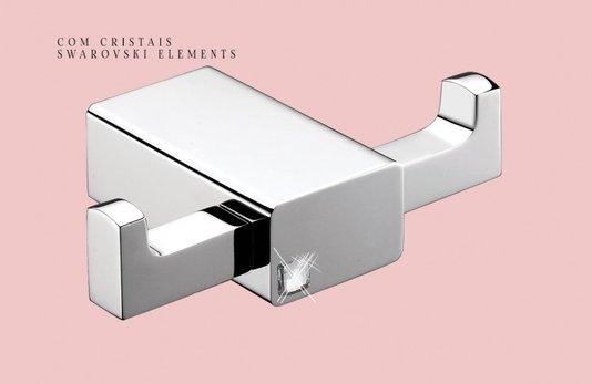 Cabideiro Duplo QUADRO FASHION Cromado com Cristal Swarovski - ACE20331 RUBINETTOS