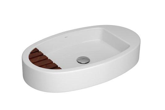Cuba de apoio de louça oval com saboneteira de madeira L.1045M.17 branca DECA