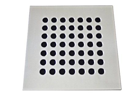 Grelha/Ralo 9,4X9,4 sem caixilho aço inox cromado formato redondo reto Invinox