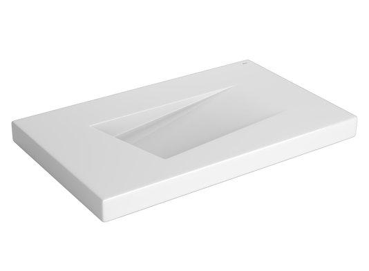 Cuba de sobrepor retangular com mesa e válvula oculta de louça L.89.17 branca DECA