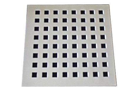 Grelha/Ralo 9,4X9,4 sem caixilho aço inox cromado formato quadrado reto Invinox