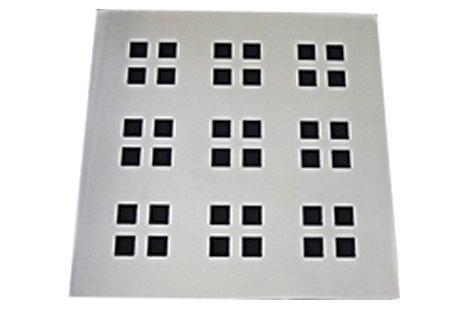 Grelha/Ralo 9,4X9,4 sem caixilho aço inox cromado formato quadrado suprema Invinox