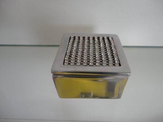 Caixa porta objetos quadrada 15722 aluminio com cristais