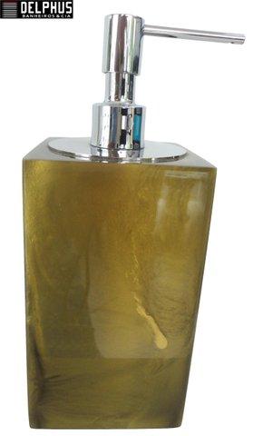 Saboneteira Liquida de Mesa (14,0x8,0x8,0)cm em Poliester Dourado Escuro com Dosador Cromado