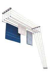Varal Innovar master teto ou parede 150cm aço com pintura em branco 7008 Maxeb